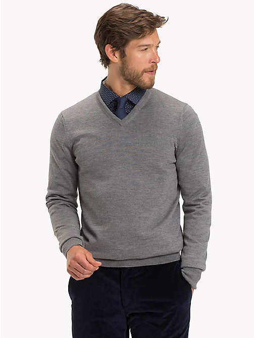 TOMMY HILFIGER Luxus-Wollpullover mit V-Ausschnitt - STEEL GRAY HEATHER - TOMMY HILFIGER Clothing - main image