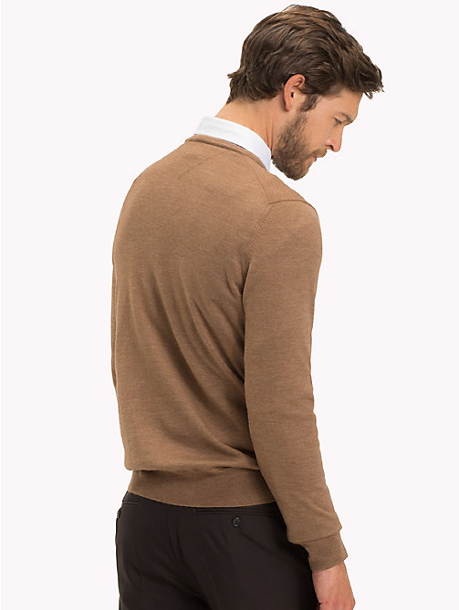 TOMMY HILFIGER Luxury Wool V-Neck Jumper - TOASTED COCONUT HTR - TOMMY HILFIGER Jumpers - detail image 1