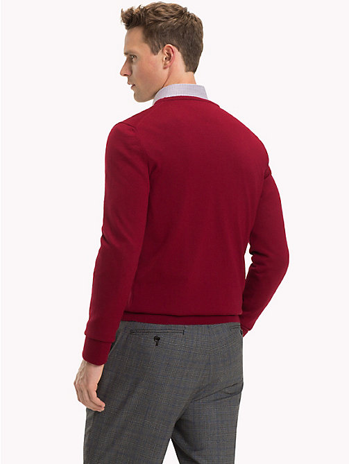 TOMMY HILFIGER Luxury Wool V-Neck Jumper - SUNDRIED TOMATO - TOMMY HILFIGER Sweatshirts & Knitwear - detail image 1