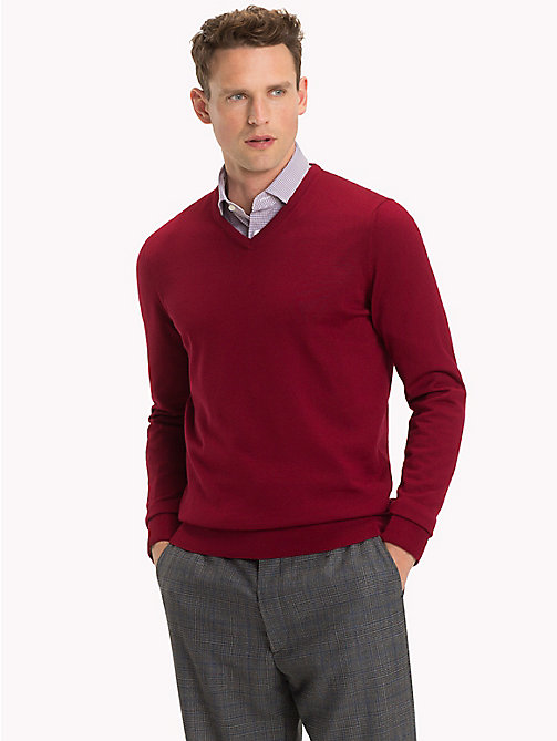 TOMMY HILFIGER Luxury Wool V-Neck Jumper - SUNDRIED TOMATO - TOMMY HILFIGER Sweatshirts & Knitwear - main image