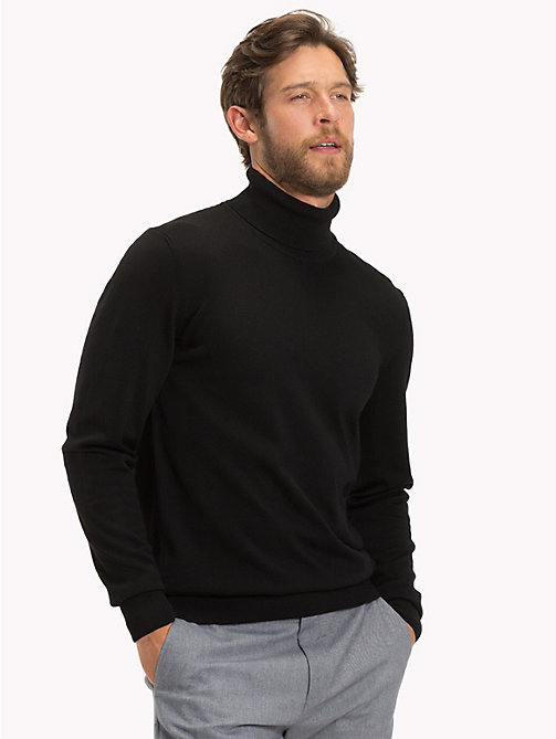 TOMMY HILFIGER Wool Turtleneck Pullover - JET BLACK - TOMMY HILFIGER Jumpers - main image