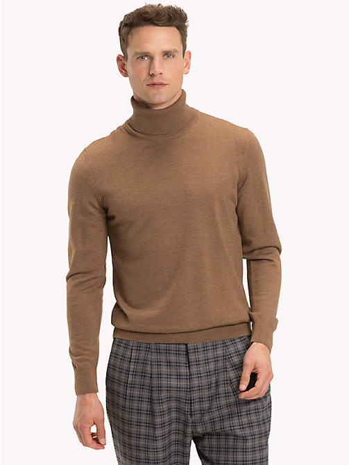 TOMMY HILFIGER Wool Turtleneck Pullover - TOASTED COCONUT HTR - TOMMY HILFIGER Gifts for Him - main image