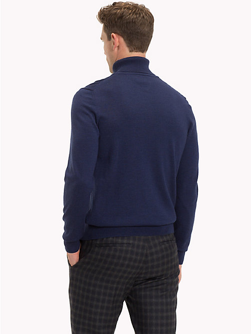 TOMMY HILFIGER Wool Turtleneck Pullover - MOOD INDIGO HEATHER - TOMMY HILFIGER Sweatshirts & Knitwear - detail image 1