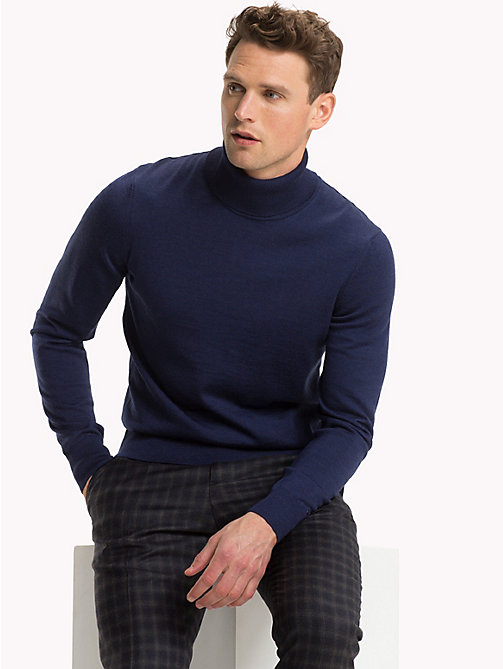 TOMMY HILFIGER Wool Turtleneck Pullover - MOOD INDIGO HEATHER - TOMMY HILFIGER Something Special - main image