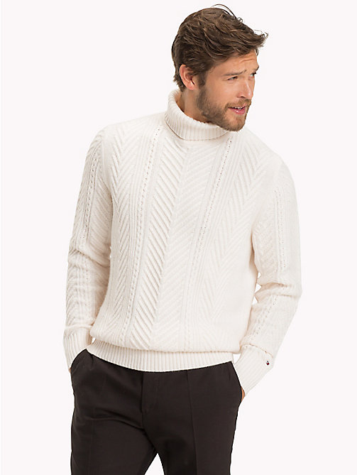 TOMMY HILFIGER Cable Knit Turtleneck Jumper - SNOW WHITE -  Something Special - main image