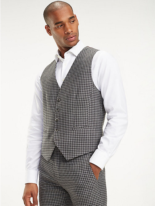 TOMMY HILFIGER Check Slim Fit Waistcoat - 019 - TOMMY HILFIGER Clothing - main image