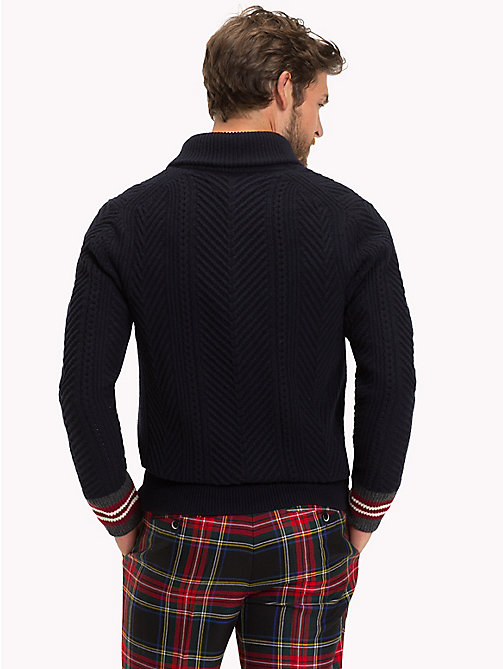 TOMMY HILFIGER CABLE SHAWL CARDIGAN - SKY CAPTAIN - TOMMY HILFIGER Clothing - main image 1