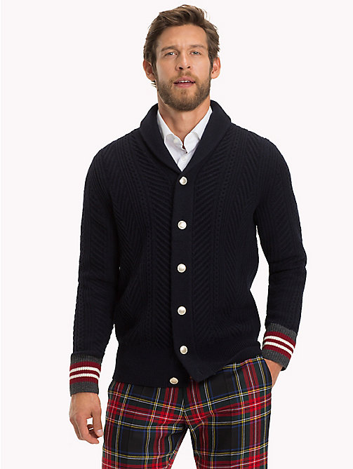 TOMMY HILFIGER CABLE SHAWL CARDIGAN - SKY CAPTAIN - TOMMY HILFIGER Rebajas Men - main image