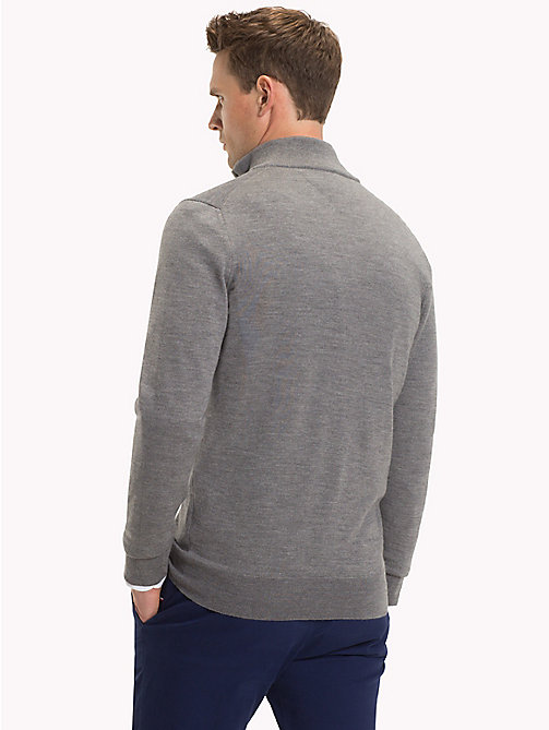 TOMMY HILFIGER Luxury Wool Zip-Thru Cardigan - STEEL GRAY HEATHER - TOMMY HILFIGER Sweatshirts & Knitwear - detail image 1
