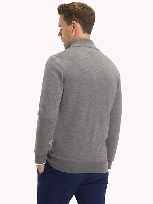 TOMMY HILFIGER Luxury Wool Zip-Thru Cardigan - STEEL GRAY HEATHER - TOMMY HILFIGER Cardigans - detail image 1