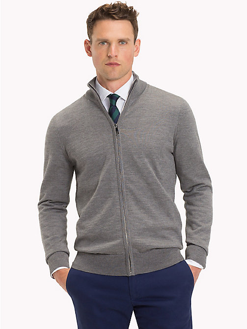 TOMMY HILFIGER Luxury Wool Zip-Thru Cardigan - STEEL GRAY HEATHER - TOMMY HILFIGER Clothing - main image