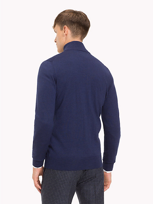 TOMMY HILFIGER Luxury Wool Zip-Thru Cardigan - MOOD INDIGO HEATHER - TOMMY HILFIGER Sweatshirts & Knitwear - detail image 1