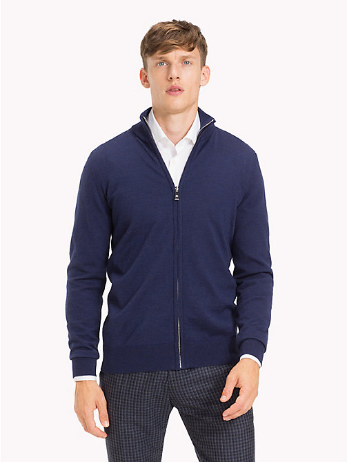 TOMMY HILFIGER Luxury Wool Zip-Thru Cardigan - MOOD INDIGO HEATHER - TOMMY HILFIGER Clothing - main image
