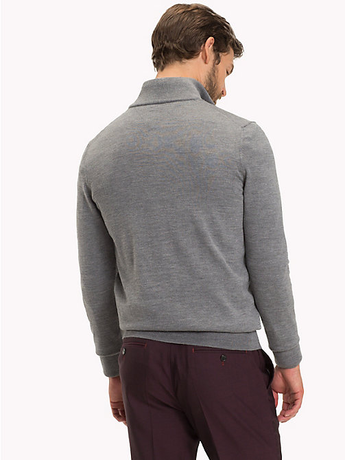 TOMMY HILFIGER Long Sleeve Luxury Wool Polo - STEEL GRAY HEATHER - TOMMY HILFIGER Sweatshirts & Knitwear - detail image 1