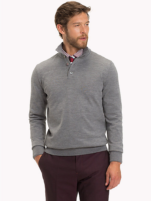 TOMMY HILFIGER Polo à manches longues en laine haut de gamme - STEEL GRAY HEATHER - TOMMY HILFIGER Vetements - image principale