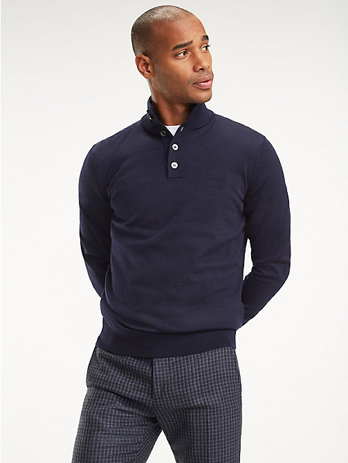 TOMMY HILFIGER Long Sleeve Luxury Wool Polo - NAVY BLAZER - TOMMY HILFIGER Sweatshirts & Knitwear - main image
