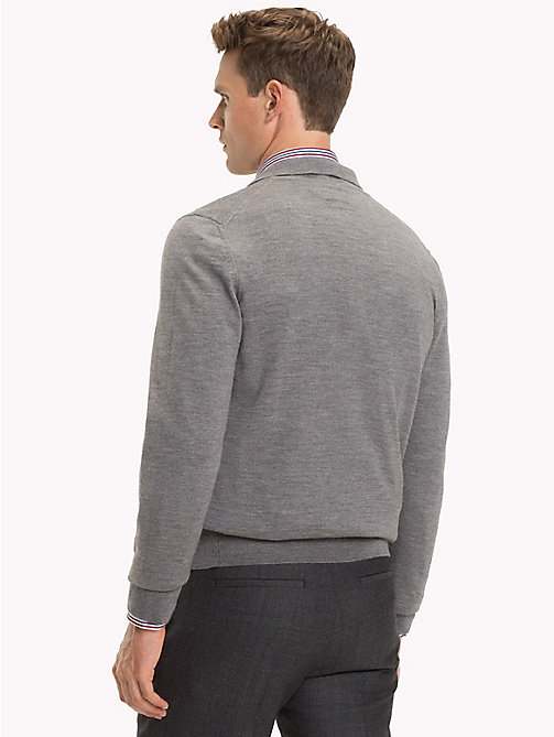 TOMMY HILFIGER LUXURY WOOL LONG SLEEVE POLO - STEEL GRAY HEATHER - TOMMY HILFIGER Tailored Dzianina - detail image 1