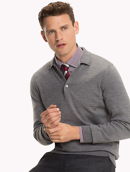TOMMY HILFIGER LUXURY WOOL LONG SLEEVE POLO - STEEL GRAY HEATHER - TOMMY HILFIGER Tailored Dzianina - main image