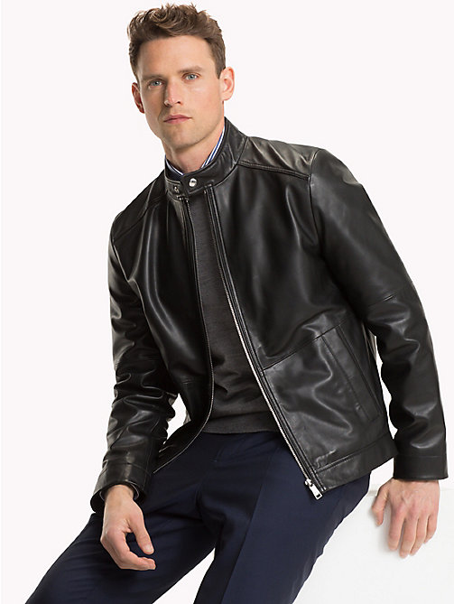 TOMMY HILFIGER Leather Biker Jacket - JET BLACK - TOMMY HILFIGER Clothing - main image