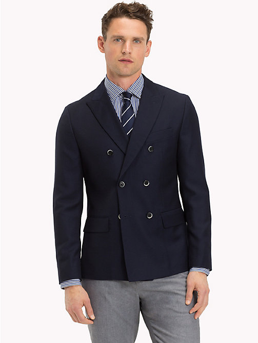 TOMMY HILFIGER Double Breasted Virgin Wool Blazer - 427 - TOMMY HILFIGER Blazers - main image