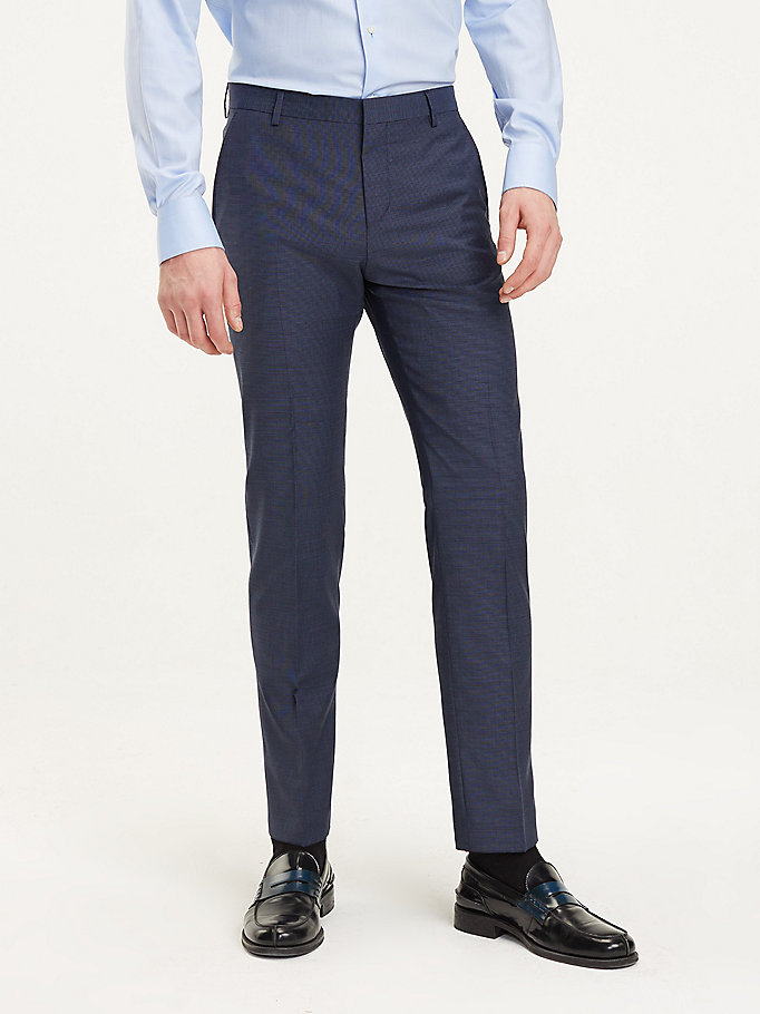 blue virgin wool suit trousers for men tommy hilfiger