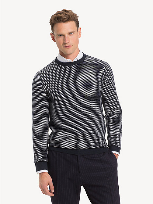 TOMMY HILFIGER Bird's Eye Crew Neck Jumper - SKY CAPTAIN - TOMMY HILFIGER Winter Warmers - main image