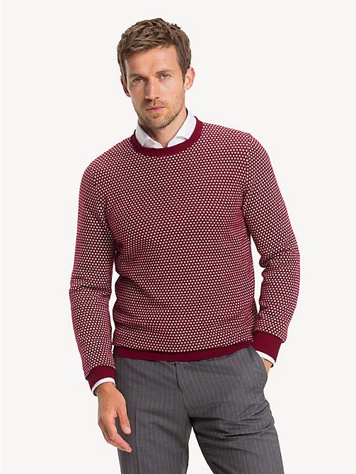 TOMMY HILFIGER Bird's Eye Crew Neck Jumper - SUNDRIED TOMATO SUNDRIED TOMATO - TOMMY HILFIGER Jumpers - main image
