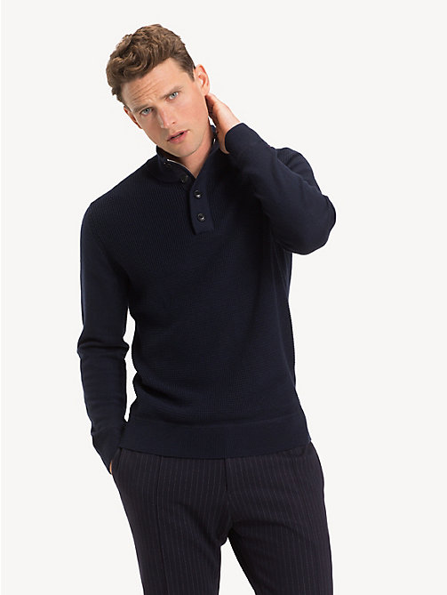 TOMMY HILFIGER Mock Neck Wool Jumper - SKY CAPTAIN - TOMMY HILFIGER NEW IN - main image