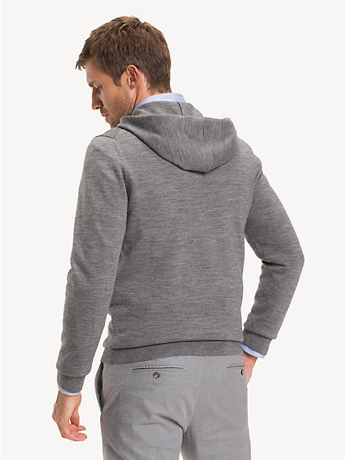TOMMY HILFIGER Wool Blend Stripe Hoody - SILVER FOG HEATHER - TOMMY HILFIGER Jumpers - detail image 1