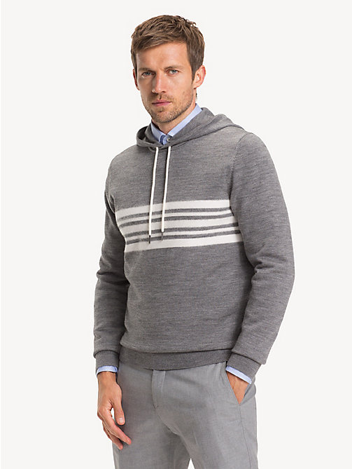 TOMMY HILFIGER Wool Blend Stripe Hoody - SILVER FOG HEATHER - TOMMY HILFIGER Jumpers - main image
