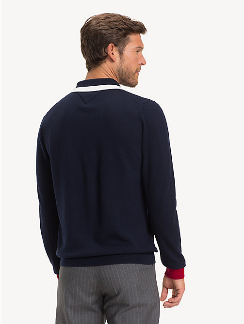 TOMMY HILFIGER Pure Wool Zip-Thru Polo - SKY CAPTAIN - TOMMY HILFIGER Polo Shirts - detail image 1