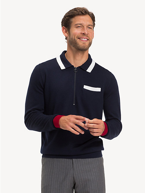 TOMMY HILFIGER Pure Wool Zip-Thru Polo - SKY CAPTAIN - TOMMY HILFIGER Polo Shirts - main image