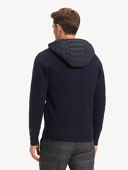 TOMMY HILFIGER Pure Wool Removable Hood Cardigan - SKY CAPTAIN - TOMMY HILFIGER Cardigans - detail image 1