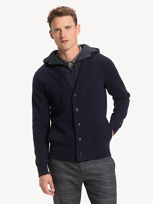TOMMY HILFIGER Pure Wool Removable Hood Cardigan - SKY CAPTAIN - TOMMY HILFIGER Cardigans - main image
