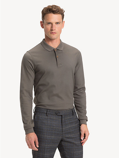 TOMMY HILFIGER Pure Cotton Slim Fit Polo - DARK OLIVE - TOMMY HILFIGER Polo Shirts - main image
