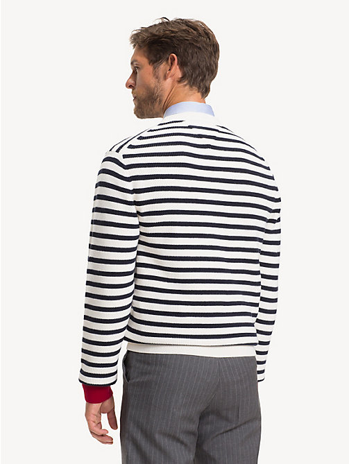 TOMMY HILFIGER Stripe Rib Crew Neck Jumper - SNOW WHITE - TOMMY HILFIGER Jumpers - detail image 1