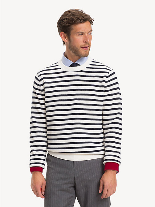 TOMMY HILFIGER Stripe Rib Crew Neck Jumper - SNOW WHITE -  Jumpers - main image