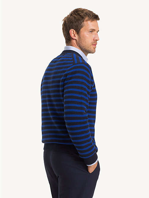 TOMMY HILFIGER Stripe Rib Crew Neck Jumper - SKY CAPTAIN - TOMMY HILFIGER Jumpers - detail image 1