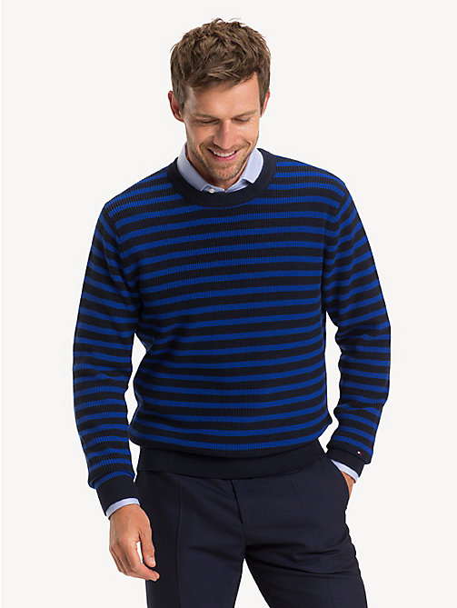 TOMMY HILFIGER Stripe Rib Crew Neck Jumper - SKY CAPTAIN - TOMMY HILFIGER NEW IN - main image
