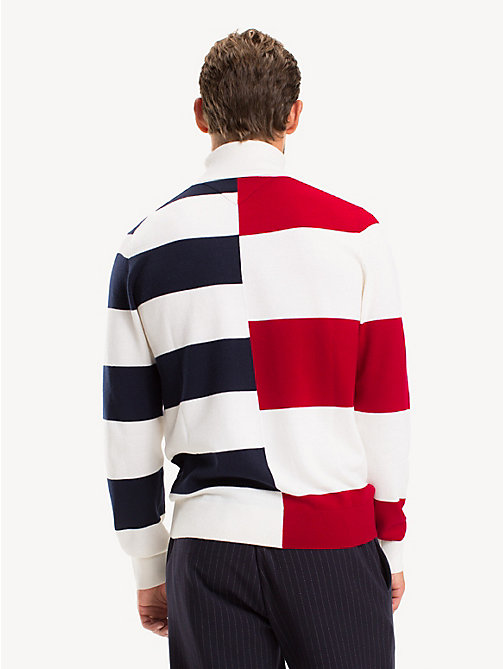 TOMMY HILFIGER Pure Wool Rugby Stripe Jumper - SNOW WHITE - TOMMY HILFIGER Something Special - detail image 1
