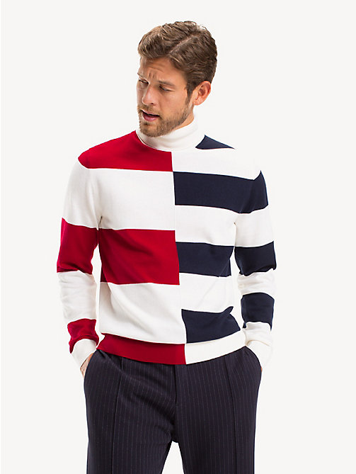 TOMMY HILFIGER Pure Wool Rugby Stripe Jumper - SNOW WHITE - TOMMY HILFIGER Something Special - main image