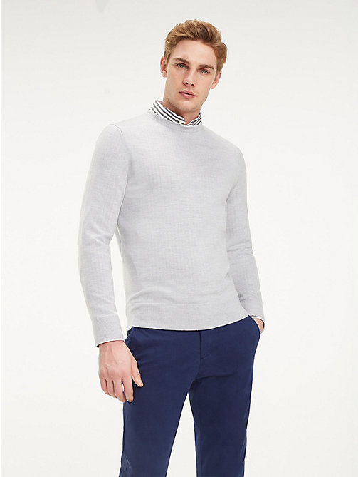 TOMMY HILFIGER Luxury Wool Crew Neck Jumper - HIGH RISE HTR - TOMMY HILFIGER Winter Warmers - main image