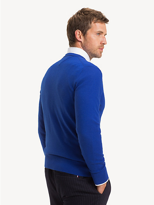 TOMMY HILFIGER Luxury Wool Crew Neck Jumper - MAZARINE BLUE - TOMMY HILFIGER Jumpers - detail image 1
