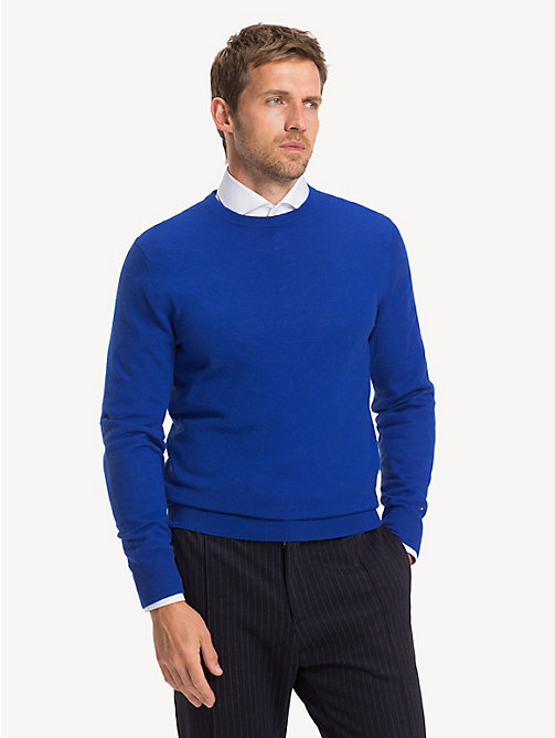 TOMMY HILFIGER Luxury Wool Crew Neck Jumper - MAZARINE BLUE - TOMMY HILFIGER Jumpers - main image