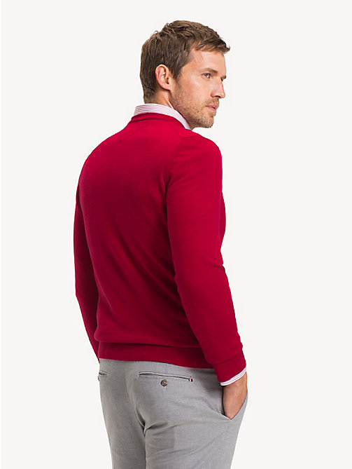 TOMMY HILFIGER Luxury Wool Crew Neck Jumper - SALSA RED - TOMMY HILFIGER Jumpers - detail image 1