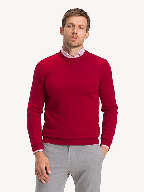 TOMMY HILFIGER Luxury Wool Crew Neck Jumper - SALSA RED - TOMMY HILFIGER Jumpers - main image