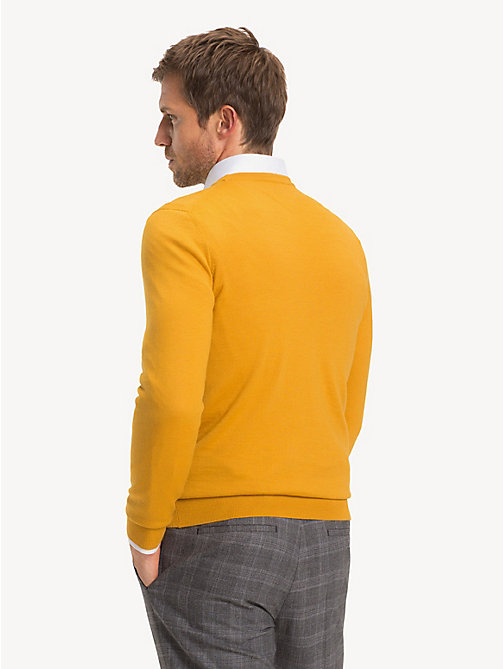 TOMMY HILFIGER Luxury Wool Crew Neck Jumper - YOLK - TOMMY HILFIGER NEW IN - detail image 1