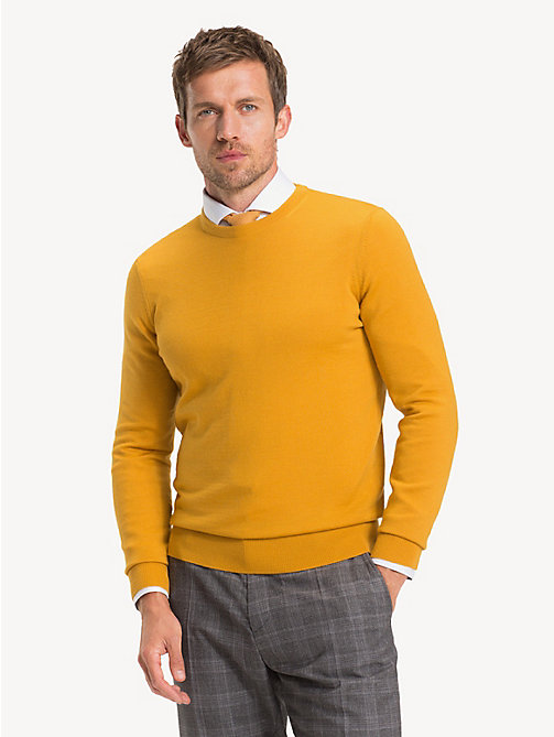 TOMMY HILFIGER Luxury Wool Crew Neck Jumper - YOLK - TOMMY HILFIGER NEW IN - main image