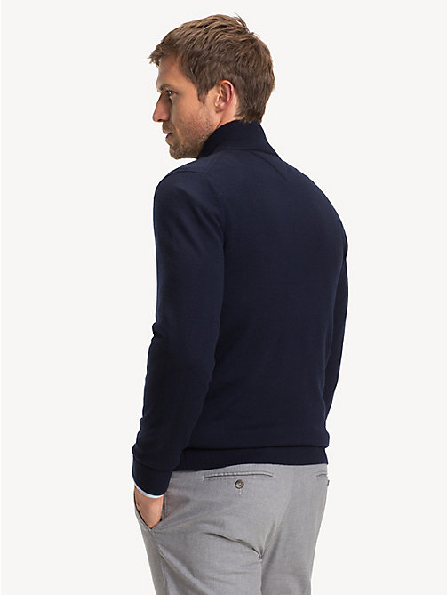 TOMMY HILFIGER Luxury Wool Two-Way Zip Jumper - SKY CAPTAIN - TOMMY HILFIGER NEW IN - detail image 1