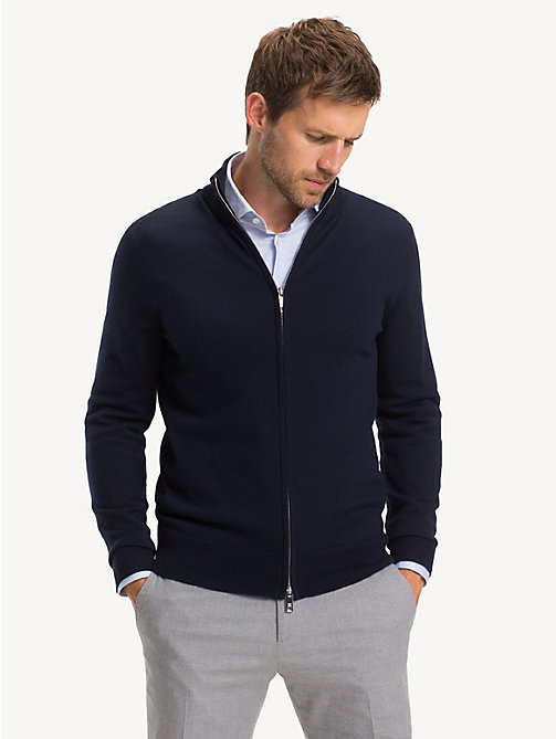 TOMMY HILFIGER Luxury Wool Two-Way Zip Jumper - SKY CAPTAIN - TOMMY HILFIGER NEW IN - main image